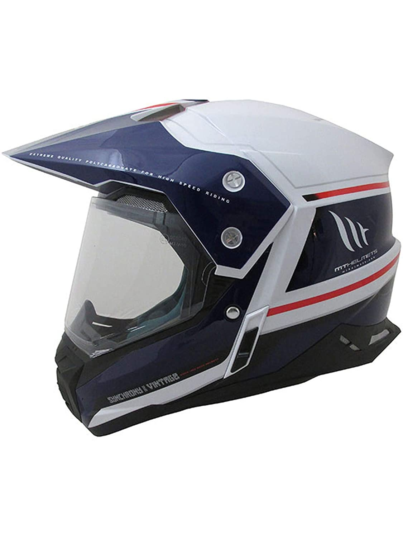 Casco de motocross 2019 Synchrony Duosport SV vintage color blanco azul ne/ón y rojo MT