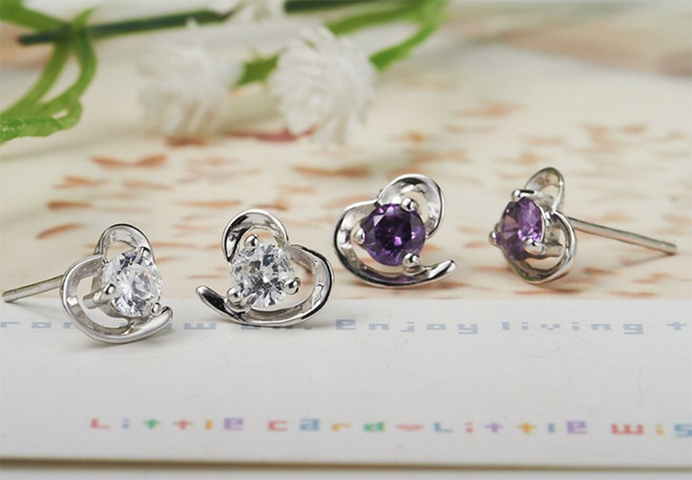 Alvade Love Purple zircon Earrings, Elegant Silver-Plated Stud Earrings Girl Jewelry by Alvade (Image #7)