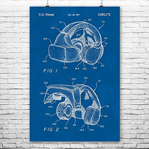 Forte VFX1 Virtual Reality VR Headgear Poster Print, Gamer Gift, VR Gaming System, Augmented Reality, PC Gaming Blueprint (24