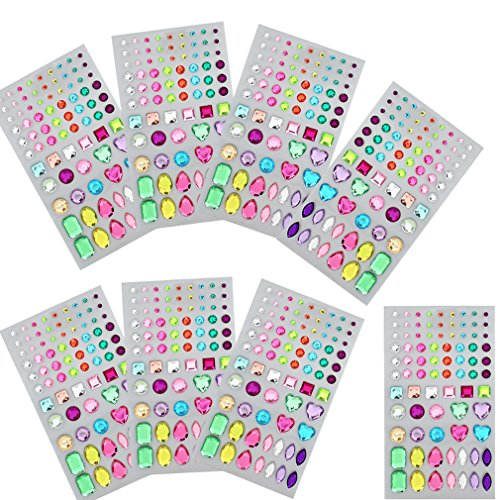 FASOTY 8 Sheets 624 Pieces DIY Self-Adhesive Rhinestone Sticker Bling Craft Jewels Crystal Gem Stickers, Multi-Color, Assorted (Bling Jewel Art Stickers)