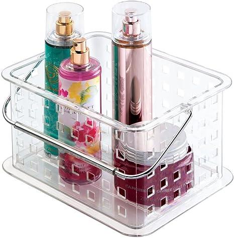 Q Sharp Juego de 2 cajas organizadoras peque/ñas de pl/ástico transparente para nevera o armario 25,5 x 10 x 15 cm
