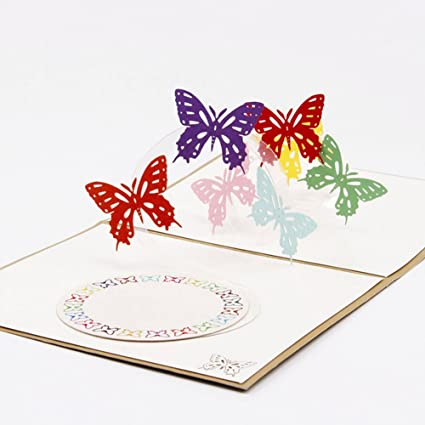 Amazon Wivily Beautiful Butterfly Handmade 3D Pop Up Christmas
