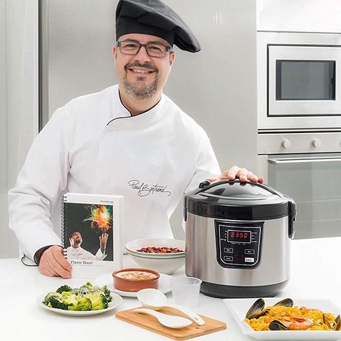 TSC – Robot de cocina multifunción 800 W con libro de recetas – 11 programas diferentes: arroz, hervir, freír, hervido, yogur, genois, guisos, cereales, sopa, vapor y mantener caliente – Sistema inteligente