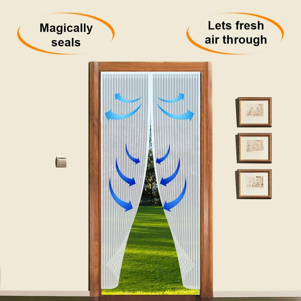 35.4 x 82.6 Screen Mesh Curtain Fits Door Up To 90 cm x 210 cm Black ARVO Magnetic Fly Insect Net Screen Door