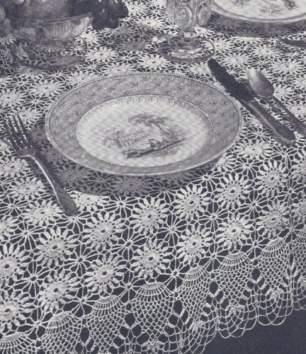 Vintage Crochet Pattern to make - Pineapple Tablecloth Runner Doily Set. NOT a finished item. This is a pattern and/or instructions to make the item -