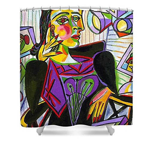 Pixels Shower Curtain (74'' x 71'') ''Technology And Picasso''