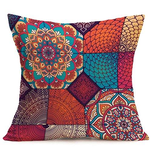 New Bohemian Pattern Throw Pillow Cover ,kaifongfu Car Cushion Cover Pillowcase Home Decor (Size:43cm43cm, E)