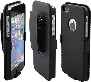 NewSilkRoad Belt Clip Holster case with Kickstand Compatible for Apple iPhone SE 5S 5 (Black)