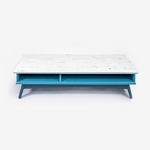Table Basse Meuble Bas Tv Bois Bleu Et Gris Clair Amazonfr