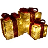Christmas Decorations Sale Pre Lit Light Up Christmas Glitter Parcels Gift Box Illuminated Presents Ornaments Gift Set of 3 Gold Jute Parcels with Red Bow 55 LEDs Mains Powered