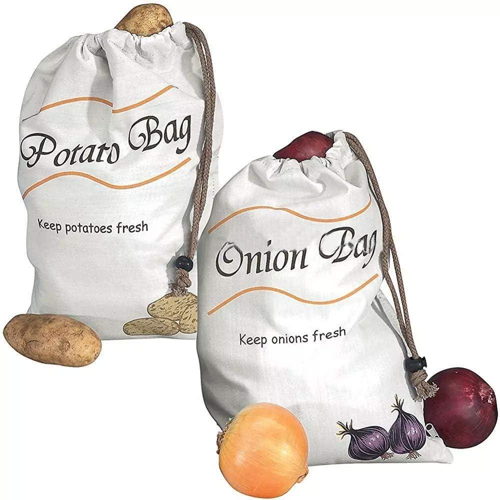 Reusable Produce Storage Bags,2 Pack Vegetable Bags Potato Onion Storage Keeper Holder Bags Muslin Veggie Bags
