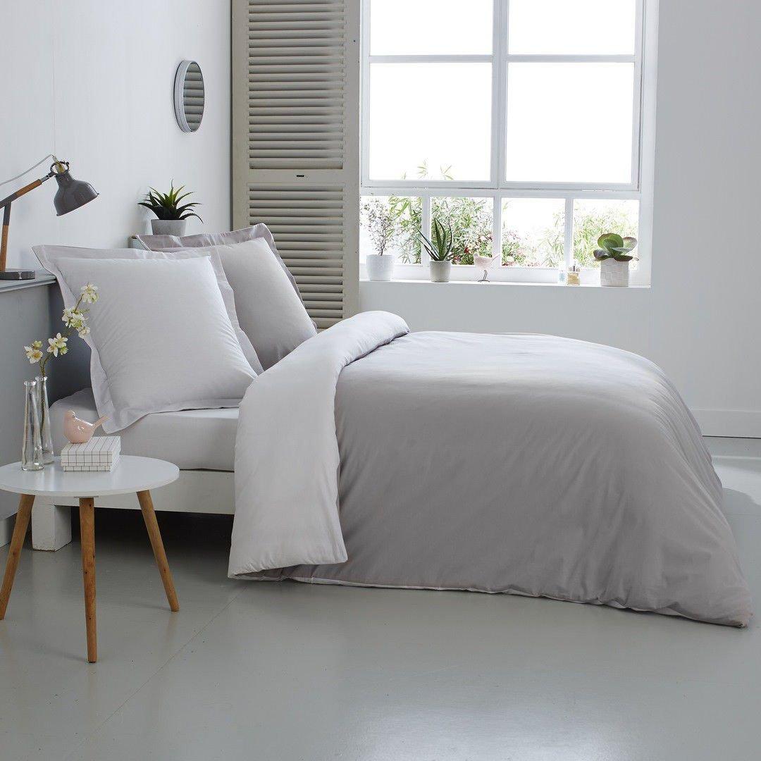 Bettwäsche Bettbezug aus 100% Baumwolle – Zweifarbig Weiß Perle 260 x 240 cm + 2 Kopfkissenbezüge 65 x 65 cm