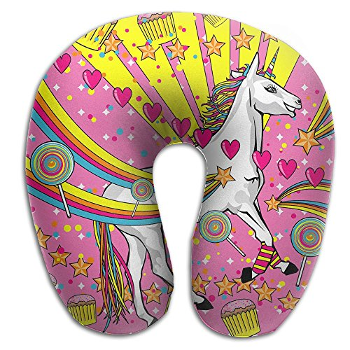 (U-Shaped Pillow Neck Shoulder Body Care Unicorn Rainbow Cake Candy Health Soft U-Pillow For Home Travel Flight Unisex Supportive)