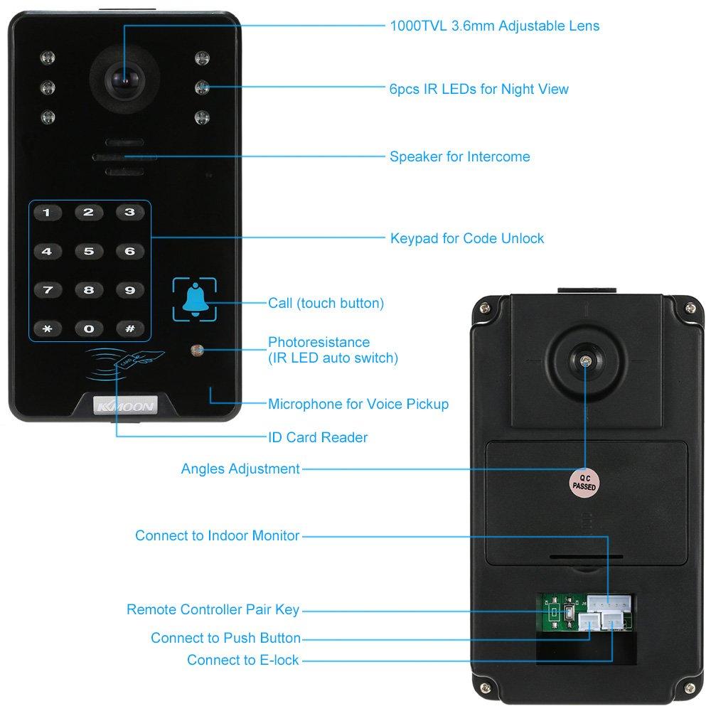 1000TVL C/ámara de Vigilancia, 2 Monitor, 5 Modos, 5 Tarjeta ID, Controlador Remoto, Visi/ón Nocturna KKmoon 7 Timbre Intercomunicador Video Portero