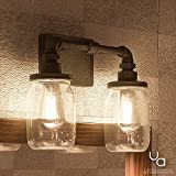 Luxury Industrial Bathroom Light, Medium Size: 11''H x 14''W, with Shabby Chic Style Elements, Aged Pipe Design, Antique Black Finish and Mason Jar With Floral Pattern, UQL2661 by Urban Ambiance