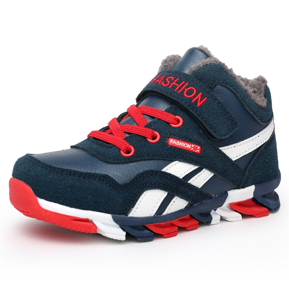 FZUU Winter Boy's Antiskid High-Top Cotton Sneaker Snow Boots Sport Outdoor Shoes