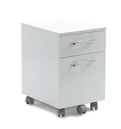 Bon Unique Furniture 2 Drawer Mobile Pedestal File Cabinet, White