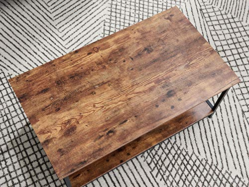Farmhouse Coffee Tables AMOAK Industrial Coffee Table with Storage Shelf, Vintage Wooden Board with Stable Metal Frame, Wood Look Furniture with… farmhouse coffee tables