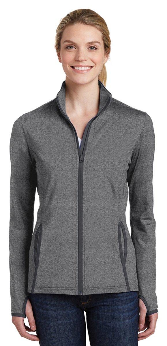 Sport-Tek Women's Sport-Wick Stretch Contrast Full-Zip Jacket LST853 Charcoal Grey Heather/Charcoal Grey 2XL