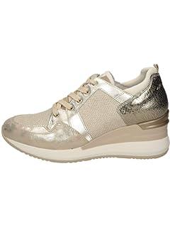 Sneakers con zeppa donna in pelle e tessuto grigio Nero Giardini A806610D 105