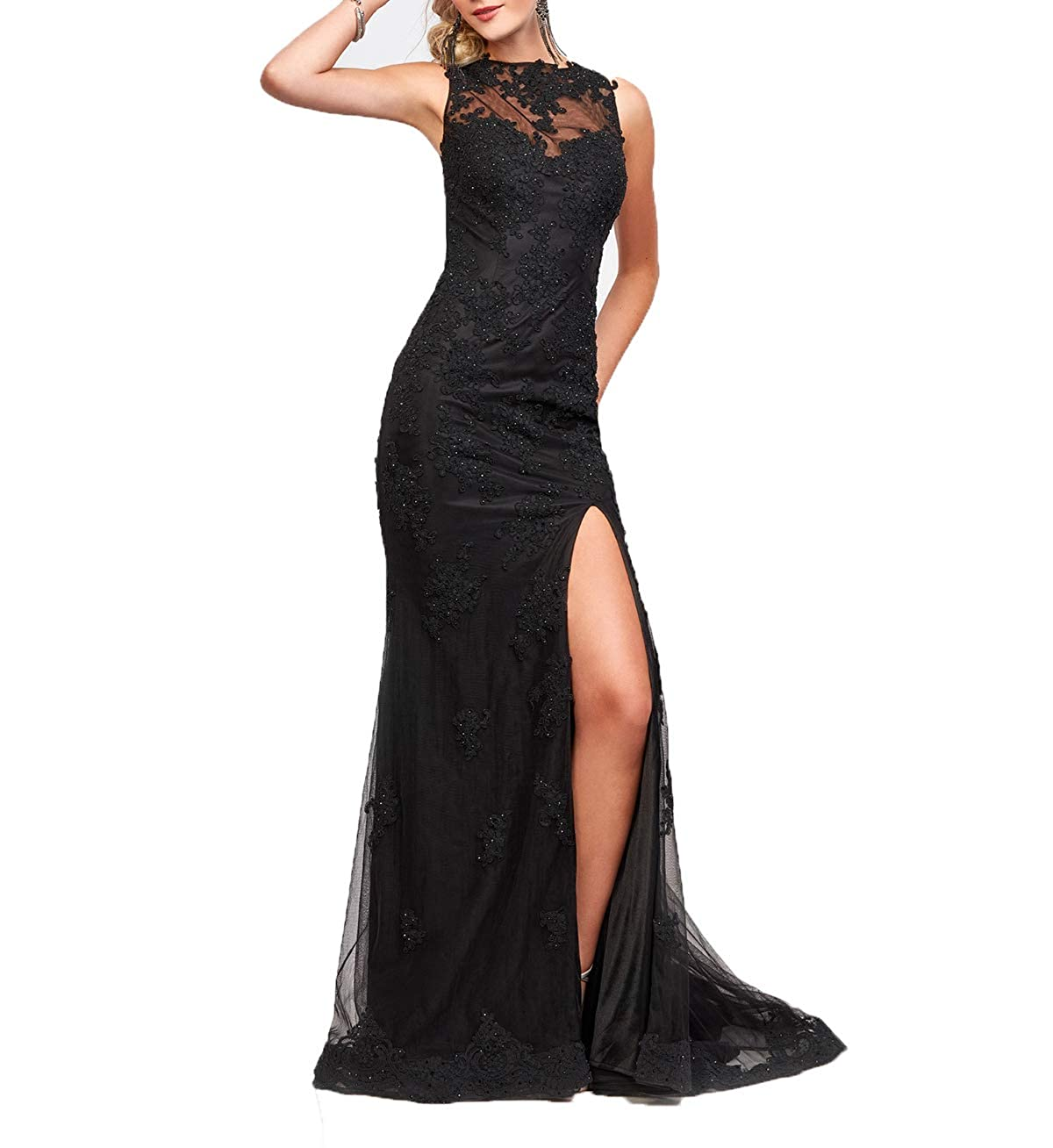 Black Wanshaqin Cap Sleeveless Lace Mermaid Prom Formal Dresses Evening Cocktail Dress Bridesmaid Gowns for Events Party