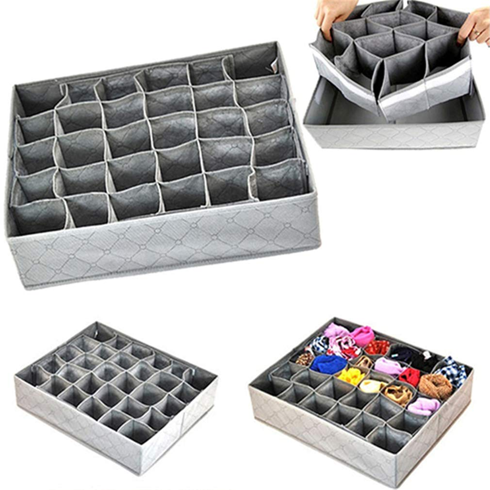 VADOLY Non-Woven Fabric Foldable Underwear Socks Drawer Organizer Storage Box Useful 30 Grid Container