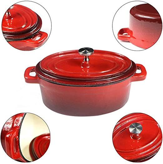 Non-stick Cast Iron Casserole Dutch Oven Round Cooking Dish With Lid 4.5L Red