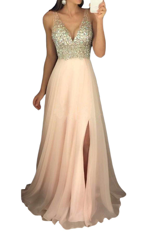 GMAR Women's Beaded Prom Dresses Long Customservice Gift-Shawl (Champagne) SH88364