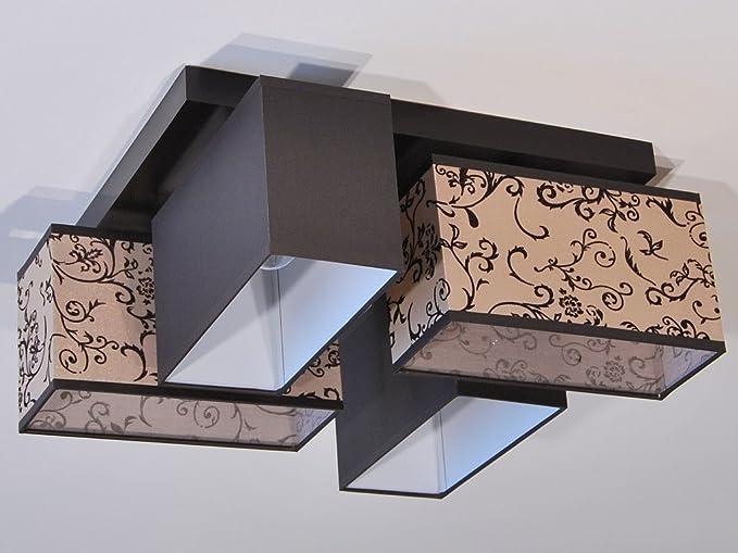 Plafoniere Con Lampadina A Vista : Moderno tessuto plafoniera rettangolare marrone biancheria