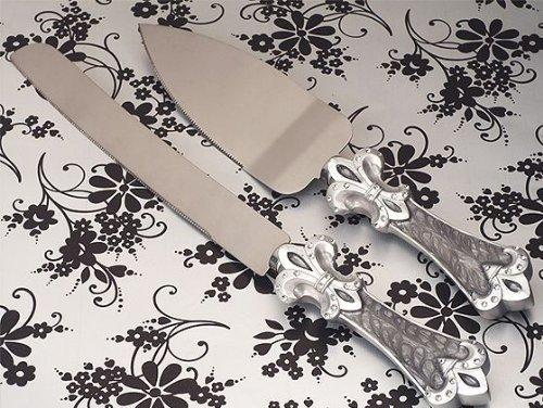 Platinum Fleur De Lis collection Cake and Knife set.
