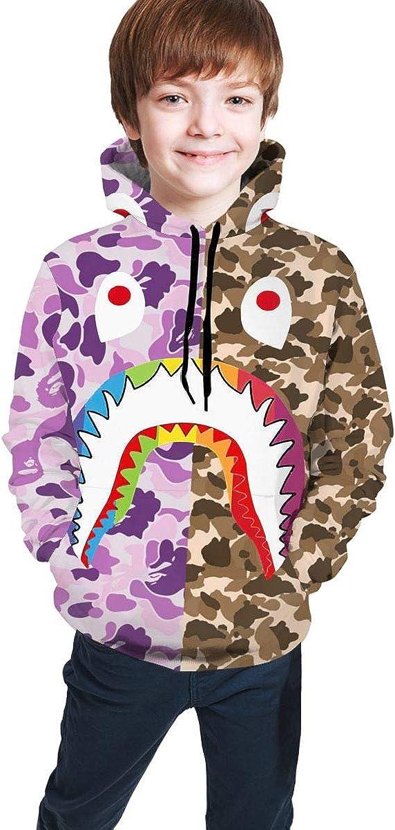Bape Shark 3D Digital Printing Pocket Hoodie Boys and Girls, Kids 3D Cartoon Printed Hoodies, Teen Cute Hooded Sweatshirt