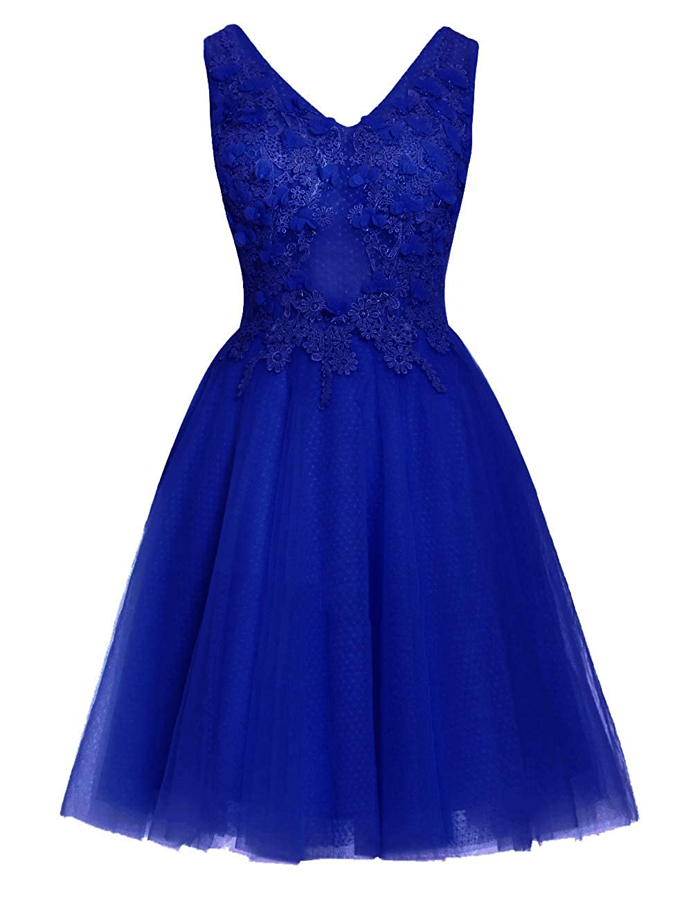 Royal bluee Uther Short Homecoming Dresses Lace Appliques 2018 Prom Wedding Party Dress V Neck