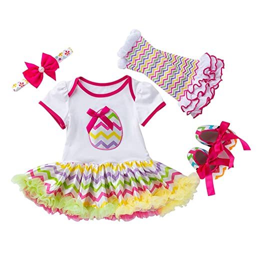 f5039276606 Amazon.com  Newborn Baby Girls Cotton 4pcs My 1st Easter Outfit Eggs Romper  Bodysuit Tutu Dress Headband Leg Warmer Shoes Set  Clothing
