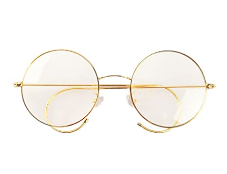 agstum retro round optical rare wire rim eyeglass frame 49mm large size gold - Wire Glasses Frames