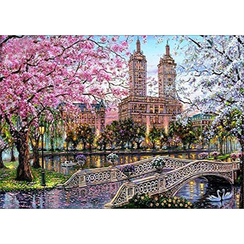 (DIY 5D Diamond Painting by Number Kit for Adult, Full Drill Diamond Embroidery Paintings Pictures Arts Craft for Home Wall Decor Gift London Street 11.8x15.7IN)