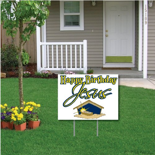 VictoryStore Yard Sign Outdoor Lawn Decorations - Happy Birthday Jesus (White) Christmas Lawn Display - Yard Sign Decoration with 2 EZ Stakes