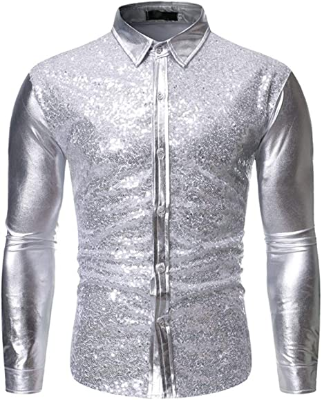 Biddtle Hombres Lentejuelas Camiseta Delgada Manga Larga Botones Metallic Shirt Nightclub Ropa,Plata,XL: Amazon.es: Deportes y aire libre