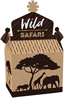 product image for Big Dot of Happiness Wild Safari - Treat Box Party Favors - African Jungle Adventure Birthday Party or Baby Shower Goodie Gable Boxes - Set of 12