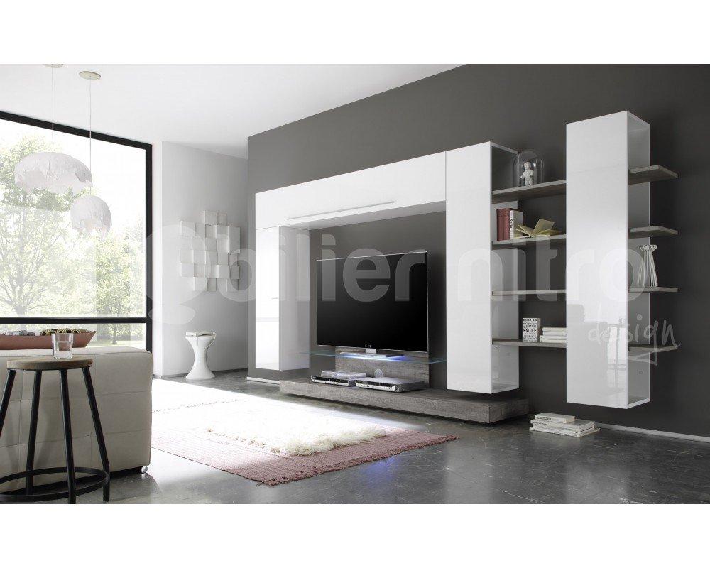 Meuble Tv Mural Blanc Et Gris Design Angelo Amazon Fr Cuisine  # Meuble Tv Nitro