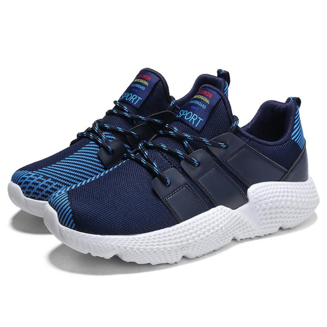 GAOLIXIA Malla voladora de los hombres Zapatillas respirables Zapatos corrientes ligeros Moda de verano Deportes casuales Zapatos de fitness Tamaño 39-48 (Color : Azul oscuro, tamaño : 45) 45|Azul oscuro