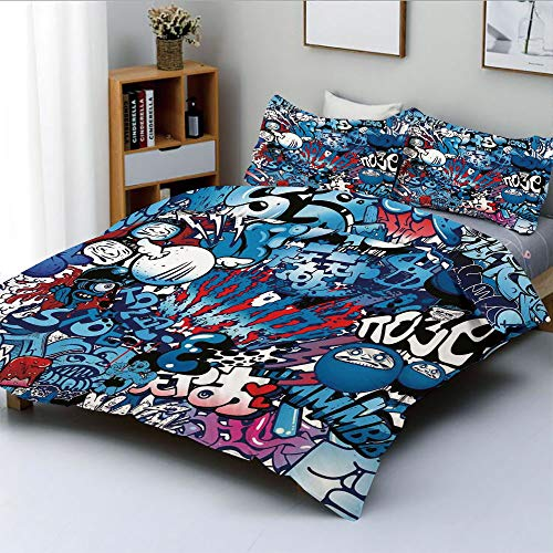 (Duplex Print Duvet Cover Set Queen Size,Teenager Style Image Wall Street Graffiti Graphic Colorful Design ArtworkDecorative 3 Piece Bedding Set with 2 Pillow Sham,Multicolor,Best Gift For Kids & Adult)
