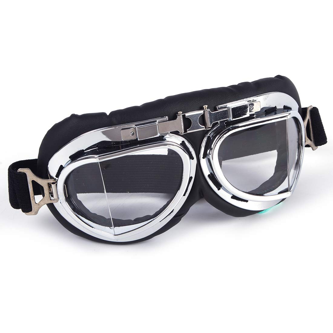 SAYFUT Sports Vintage Pilot Style Motorcycle Cruiser Scooter Goggle Silver Lens