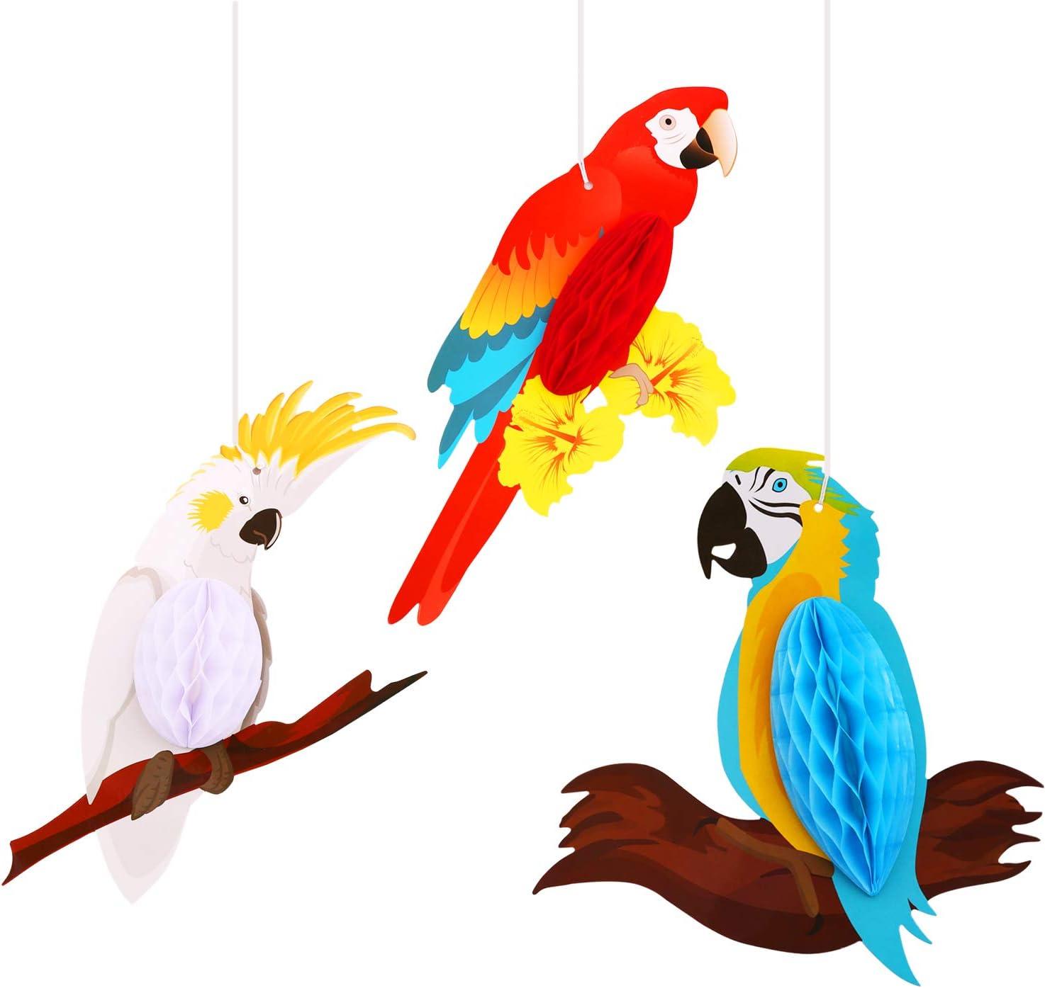6 Piezas Decoraciones Colgantes de Loro,MWOOT Panal de loro de Pájaros Tropicales Hawaiian Tropical Summer Beach Party Home Decoraciones Colgantes de Aula