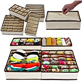 PAffy Fabric Foldable Drawer Dividers, Storage Boxes (Beige) - Set of 4
