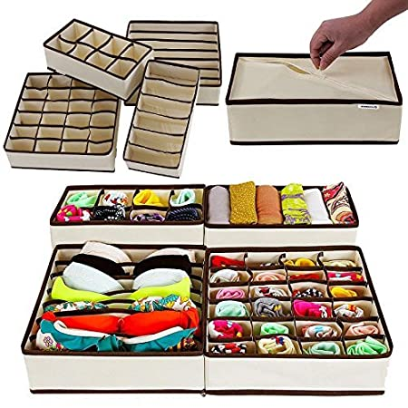 Paffy Fabric Foldable Drawer Dividers, Storage Boxes (Beige)