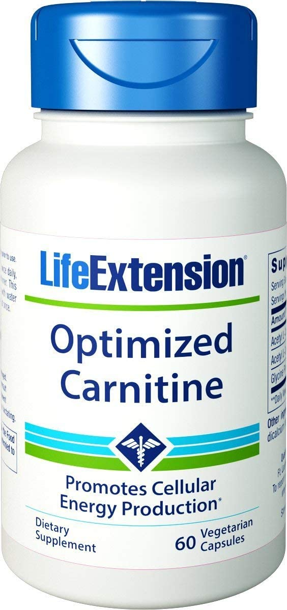 Life Extension Optimized Carnitine Promotes Heart and Brain Health, 60 Capsules - 2 Pack: Health & Personal Care