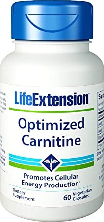 Life Extension Optimized Carnitine Promotes Heart and Brain Health, 60 Capsules – 2 Pack