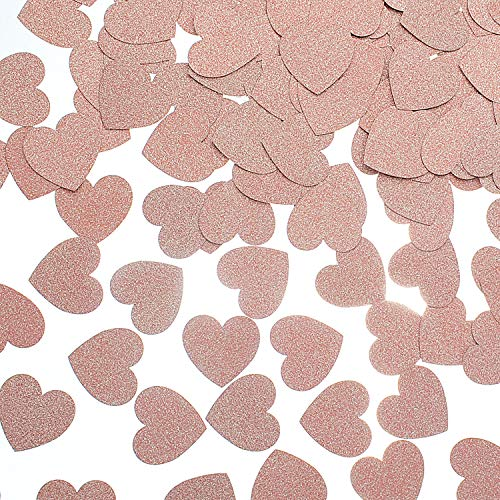 MOWO Glitter Heart Paper Confetti for Table Wedding Birthday Party Decoration, 1.2 inch in Diameter (Rose Gold Glitter,200pc)]()