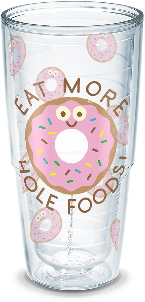 Tervis 1290018 David Olenick More Hole Foods Insulated Tumbler with Wrap and Pink Lid 24oz Clear