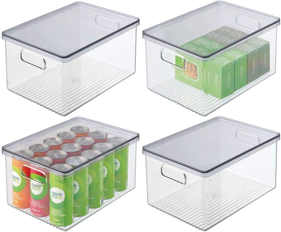mDesign Juego de 4 cajas organizadoras de plástico para nevera – Recipiente para guardar alimentos con tapa y asas – Organizador para nevera, cocina y despensa apto para alimentos – transparente/gris: Amazon.es: Hogar
